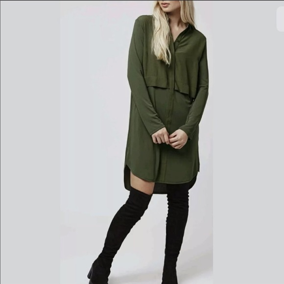 new arrivals top-rated top-rated quality Topshop hybrid shirt dress khaki army green 10 NEW NWT